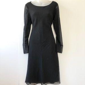 Ann Taylor Sheer Sleeves Wool Dress